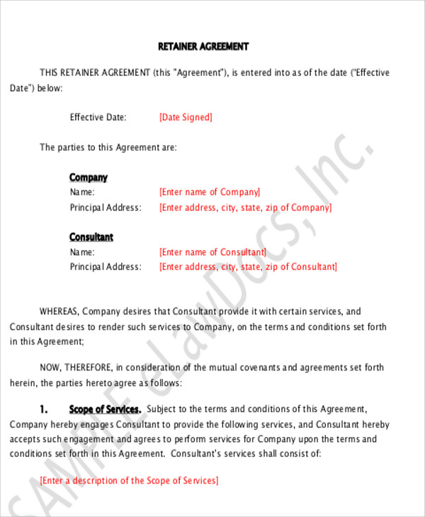 9+ Sample Consulting Retainer Agreements Sample Templates - sample retainer agreements