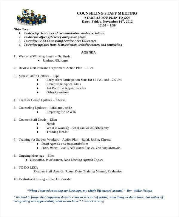 30+ Meeting Agenda Samples Sample Templates