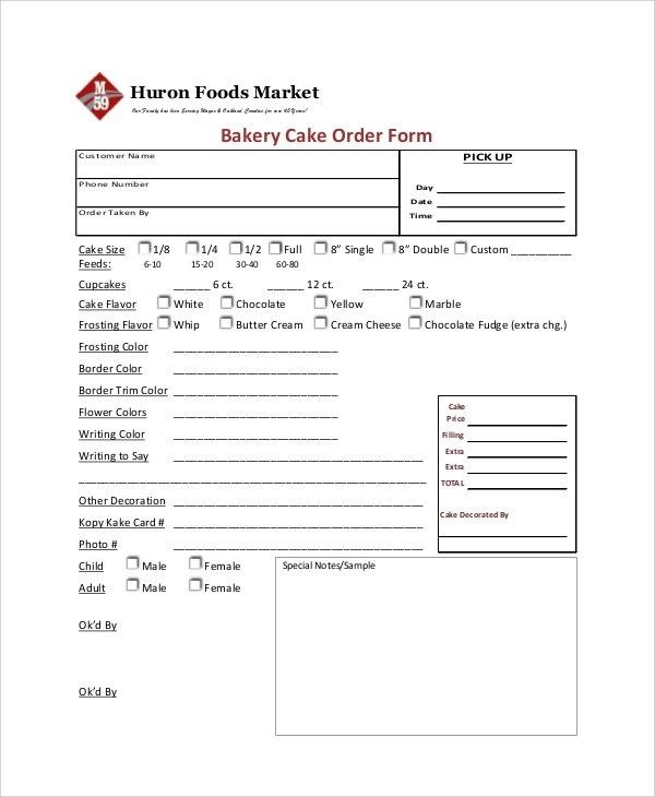 9+ Sample Cupcake Order Forms Sample Templates - cake order forms