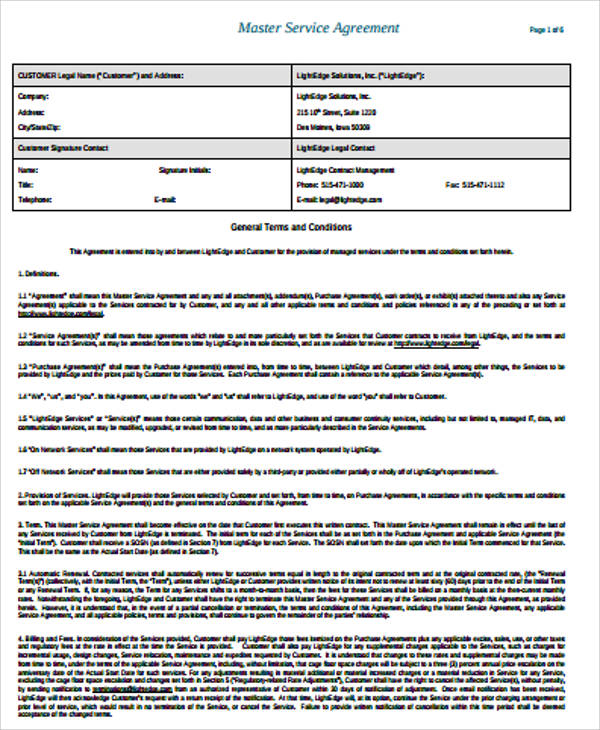 11+ Sample Service Agreements Sample Templates - Sample Master Service Agreement