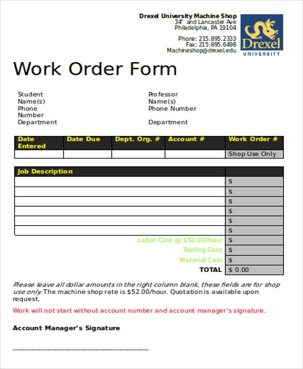 Free Sample Work Order Form - 9+ Examples in Word, PDF - work order form