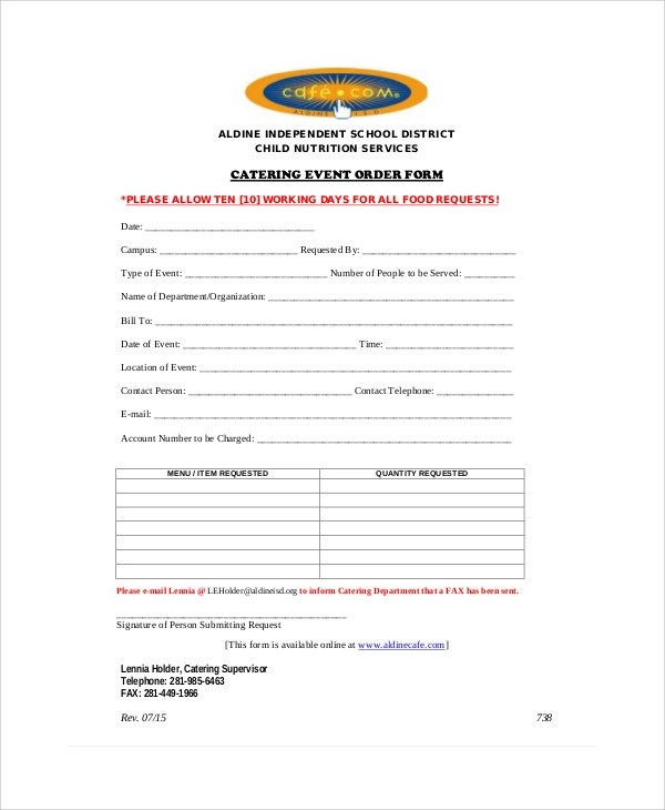 8+ Sample Event Order Forms Sample Templates - catering order form