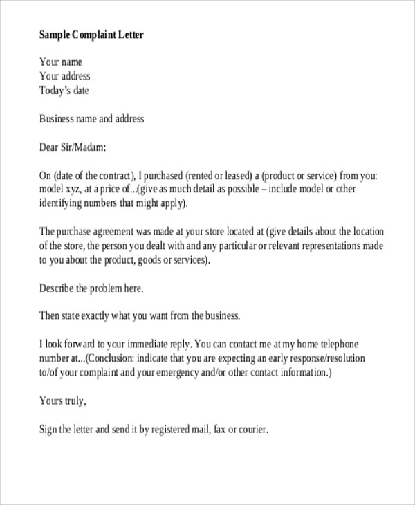 7+ Sample Business Complaint Letters Sample Templates