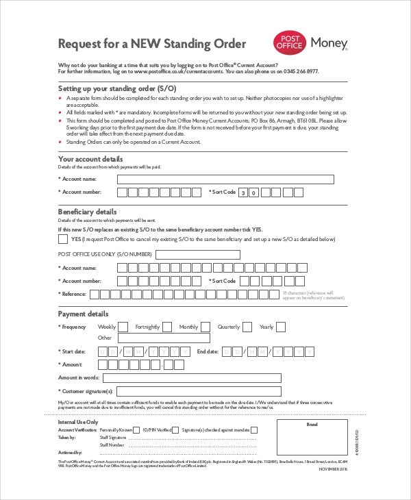 Sample Money Order Form - 11+ Examples in Word, PDF
