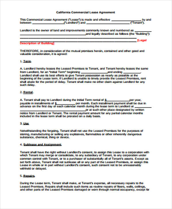 7+ Sample Standard Commercial Lease Agreements Sample Templates