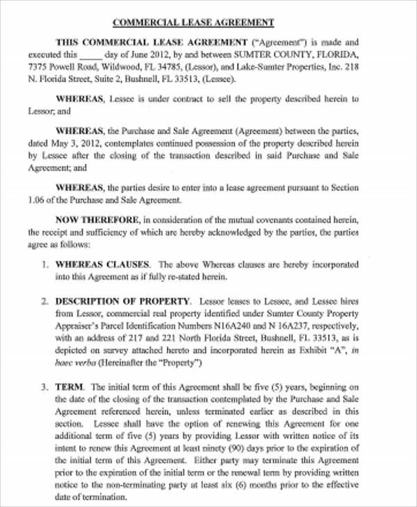 Sample Standard Commercial Lease Agreement - 7+ Examples in Word, PDF - commercial purchase agreements