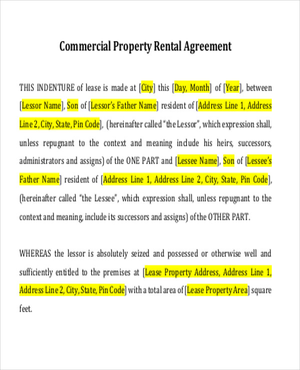 ... Simple Commercial Lease Agreement   9+ Examples In Word, PDF   Lease  Agreement Example ...