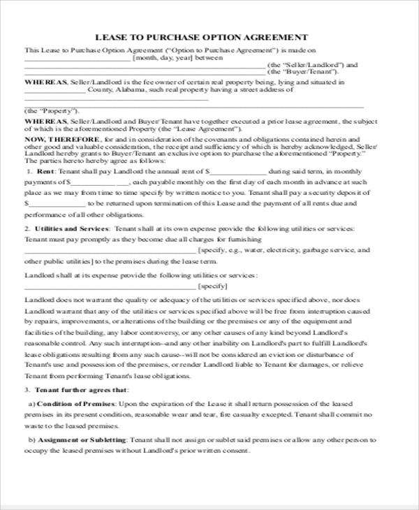 Simple Commercial Lease Agreement - 9+ Examples in Word, PDF - commercial purchase agreements