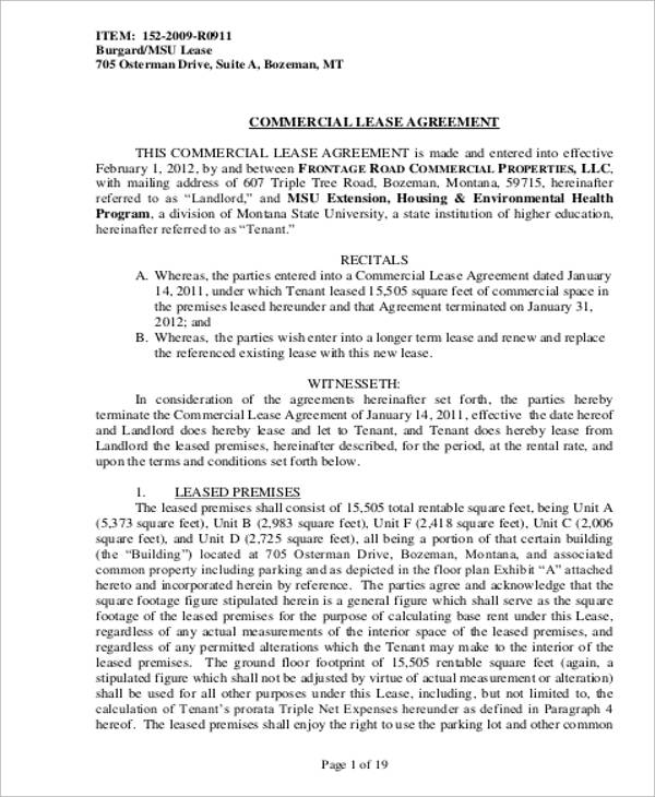 9+ Commercial Lease Agreement Samples Sample Templates - commercial rent agreement format
