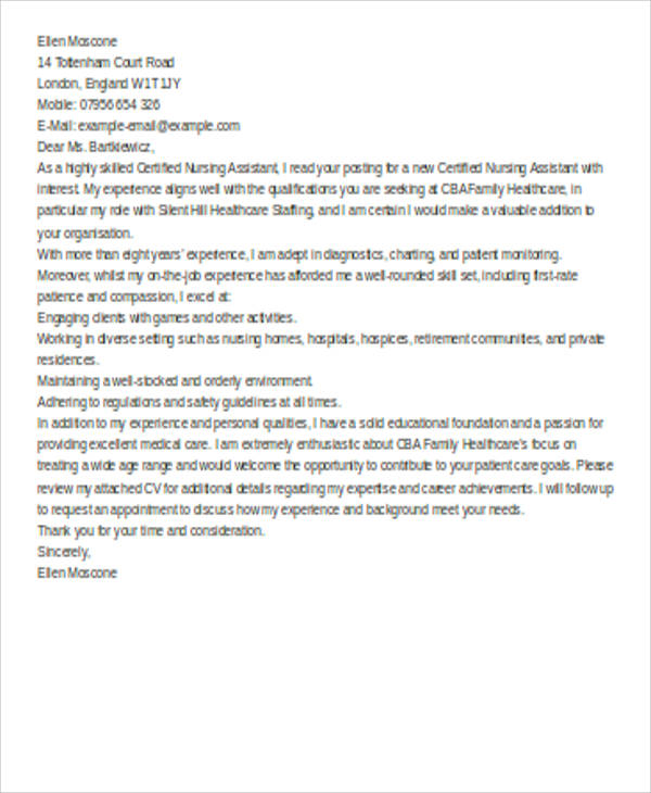 6+ Nursing Cover Letter - Examples in Word, PDF - nursing assistant cover letter