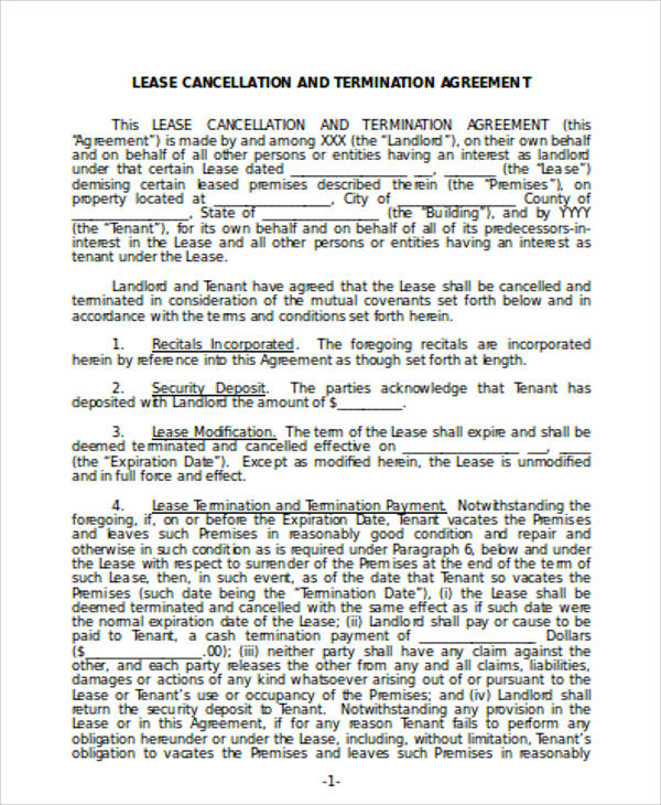 10 Commercial Lease Agreement Sample Free Sample Example Commercial Lease  Termination Agreement   Lease Termination Agreement