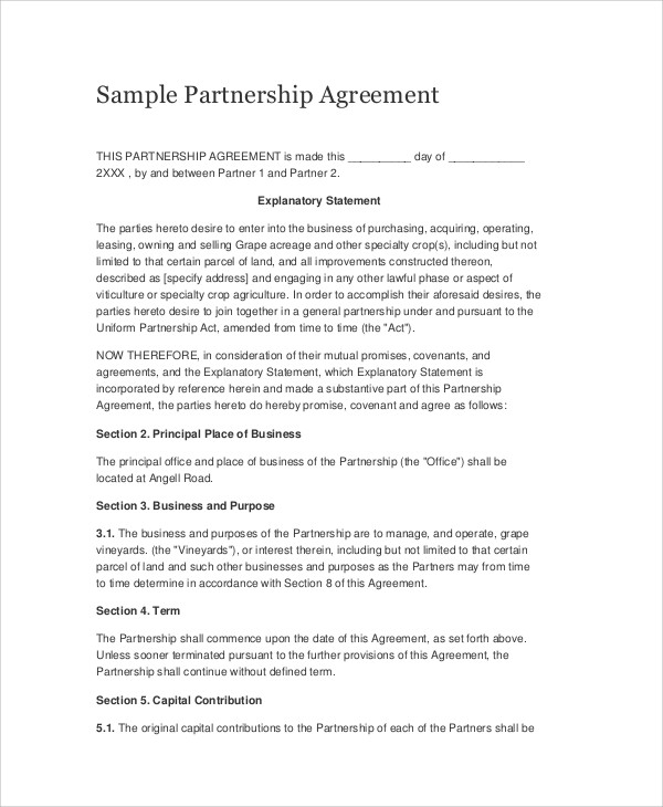 Sample Business Partnership Agreements in PDF - 10+ Examples in PDF - Business Partner Agreement