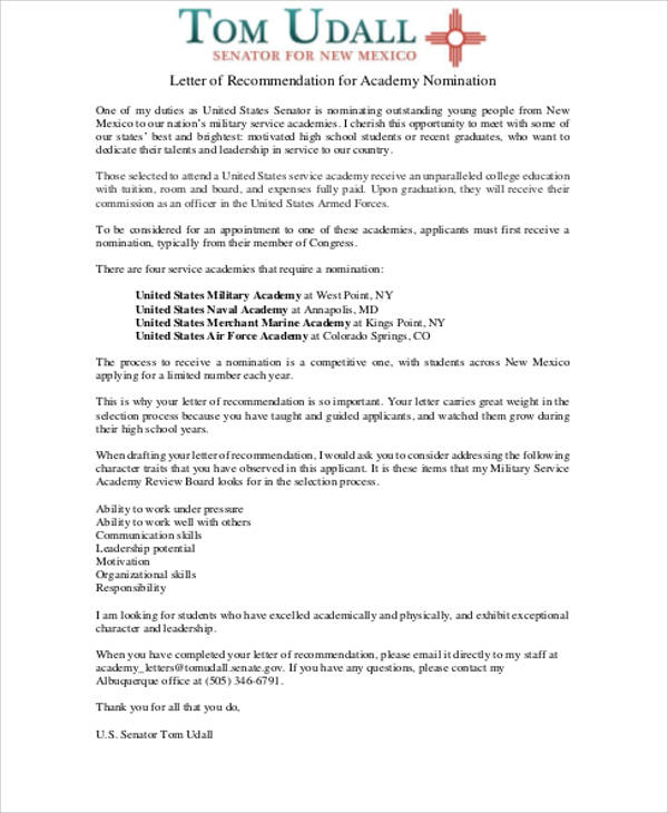 military letter of recommendation format