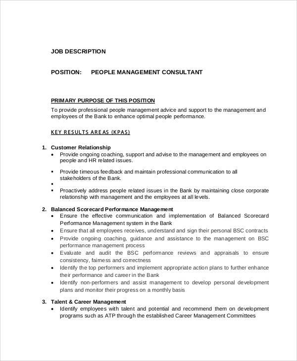 8+ Management Consultant Job Description Samples Sample Templates - management job description