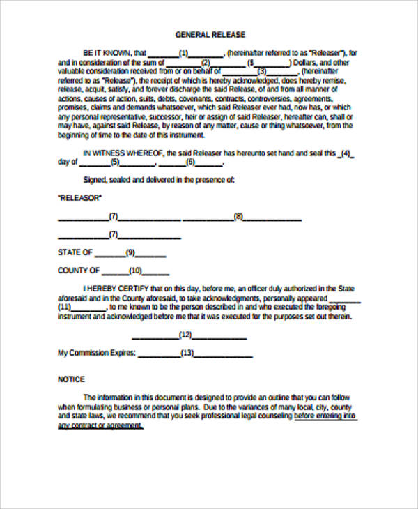 General Release Form Sample - 8+ Examples in Word, PDF