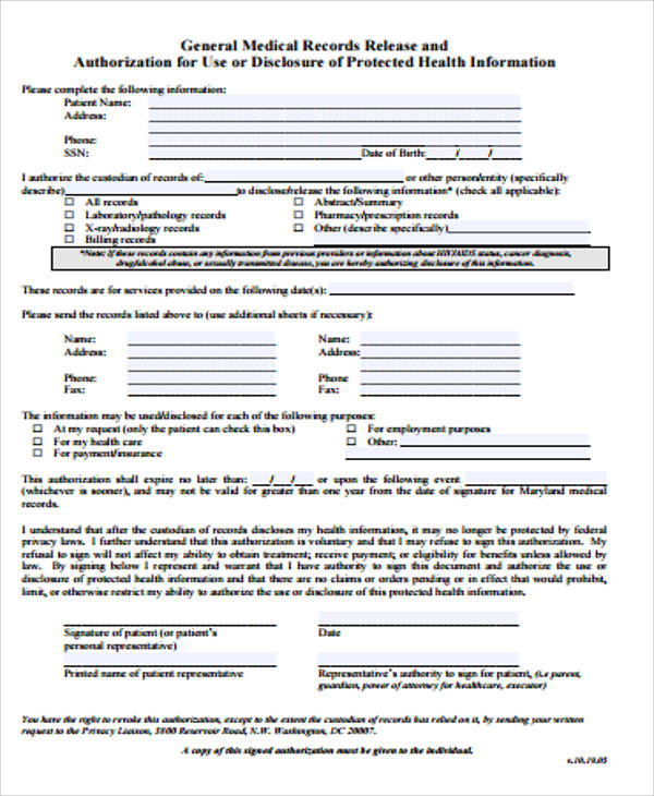 general medical records release form sample - Josemulinohouse