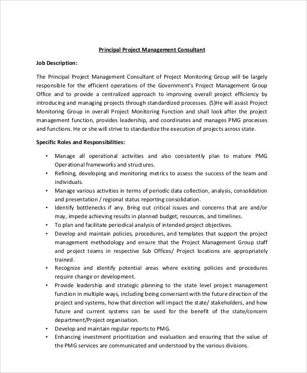 Management Consultant Job Description Sample - 8+ Examples in Word, PDF