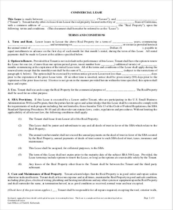 10+ Sample Commercial Lease Agreements in PDF Sample Templates - lease agreement in pdf