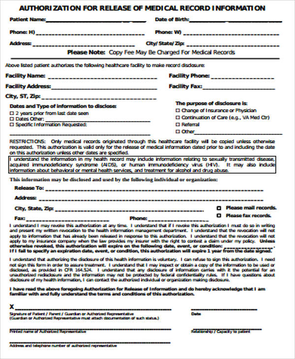 9+ Medical Record Release Form Samples Sample Templates - authorization for medical records