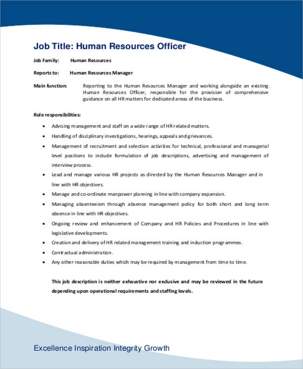 6+ Human Resource Management Job Description Samples Sample Templates - human resource job description