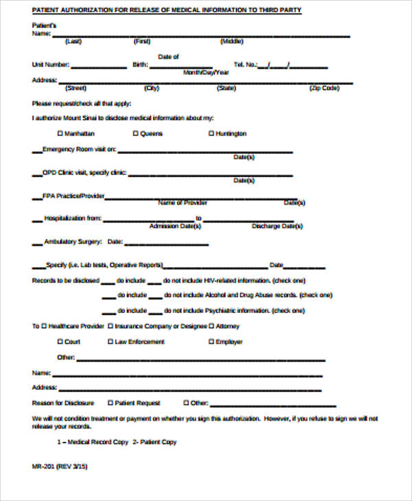 10+ Medical Release Forms - Free Sample, Example, Format - medical information release form