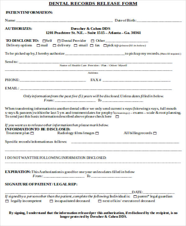 Medical Record Release Form Sample - 9+ Examples in Word, PDF - dental records release form