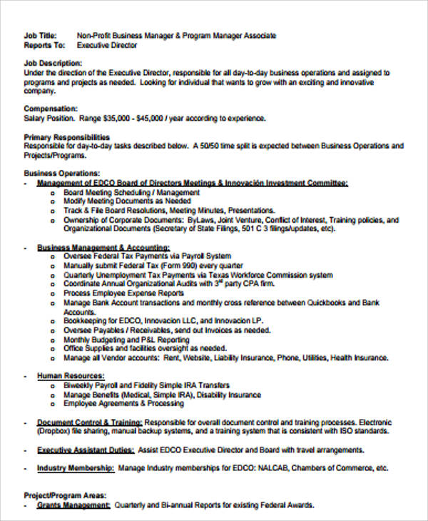 9+ Sample Business Manager Job Descriptions Sample Templates