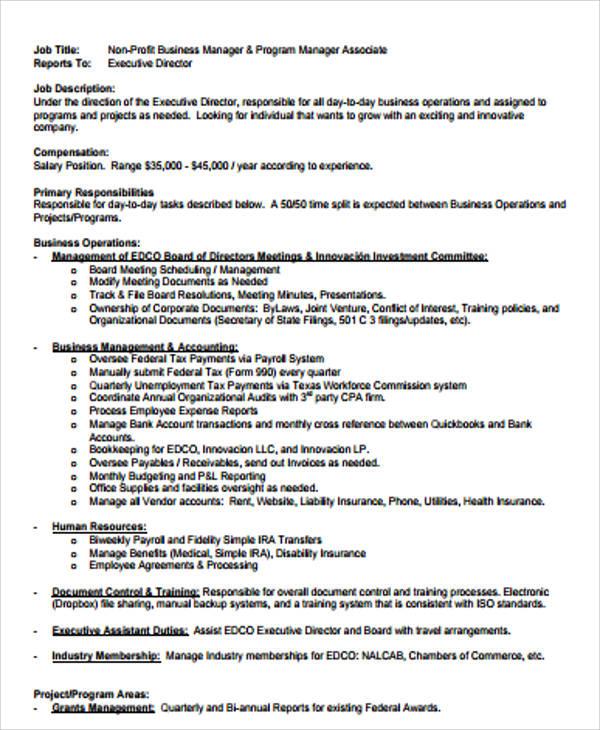 business manager job description samples - Gottayotti