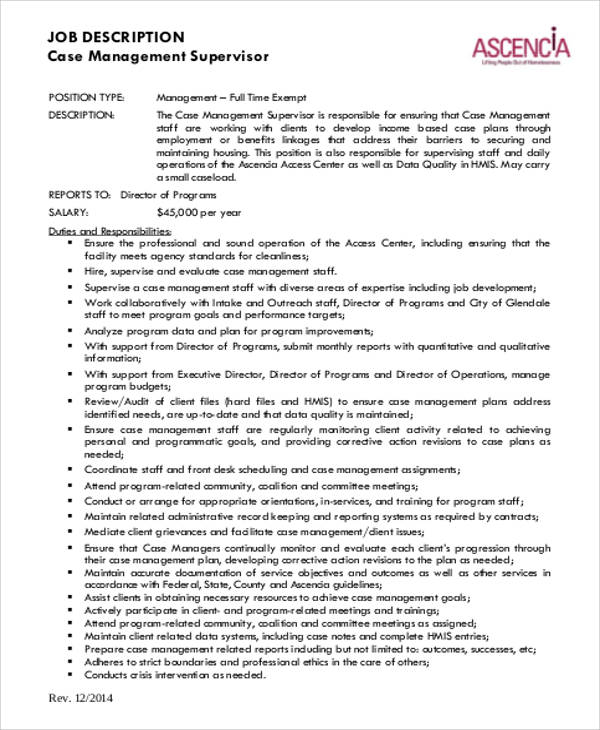 ... Case Management Job Description Sample   8+ Examples In Word, PDF   Case  Management ...