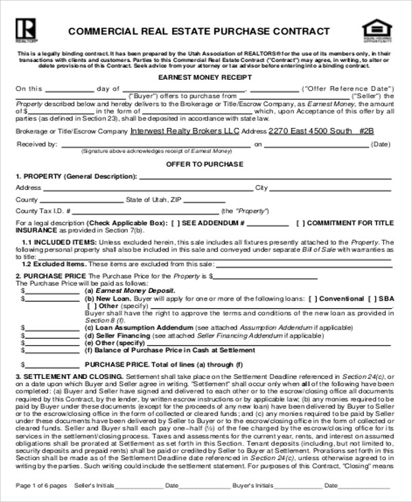 Sample Commercial Real Estate Purchase Agreement - 7+ Examples in
