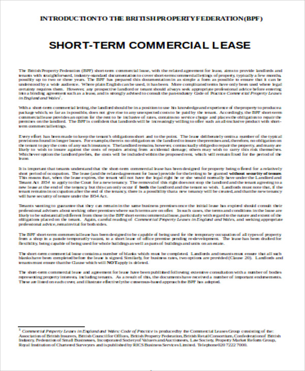 7+ Sample Commercial Lease Agreements in Word Sample Templates