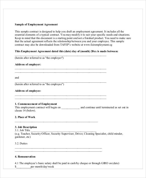 Job Agreement Contract Contract Template 16 40 Great Contract - job agreement contract