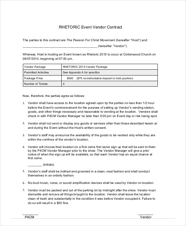 7+ Sample Event Contract Agreements Sample Templates - vendor contract agreement