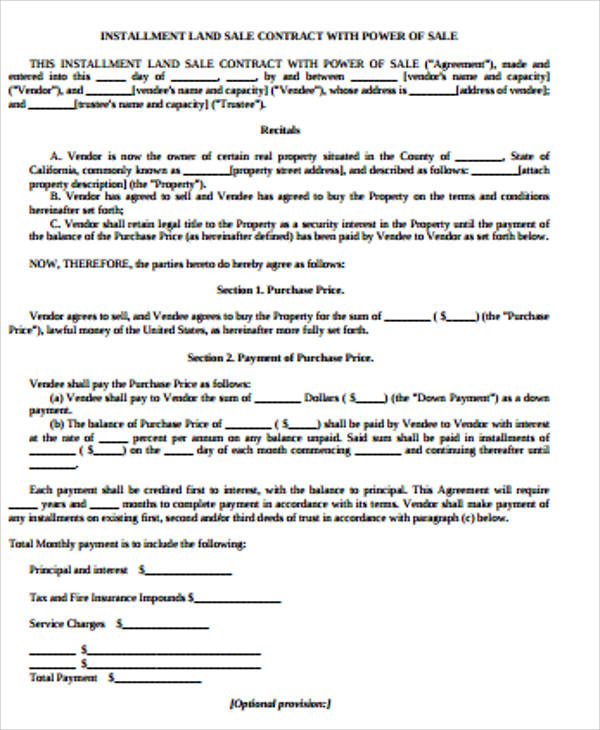 9+ Sample Land Contract Agreements Sample Templates - land contract agreement