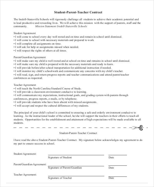 11+ Student Agreement Contract Samples Sample Templates