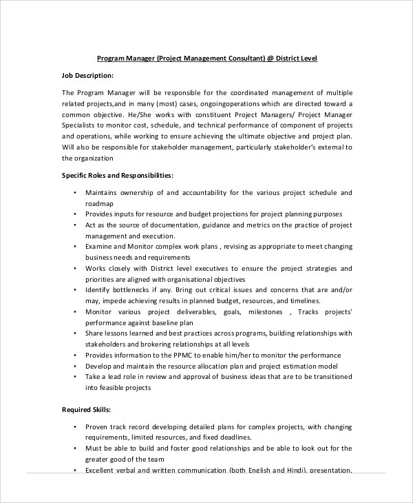 Management Job Description 6 Quality Manager Job Description - marketing consultant job description