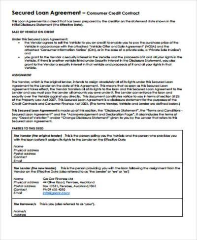 Loan Agreement Contract Sample - 7+ Examples in Word, PDF