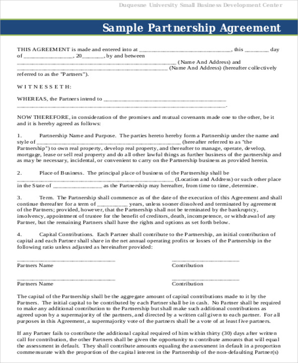 7+ Partnership Agreement Contract Samples Sample Templates - Business Partner Agreement