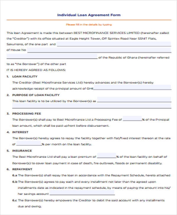 7+ Loan Agreement Contract Samples Sample Templates - individual loan agreement