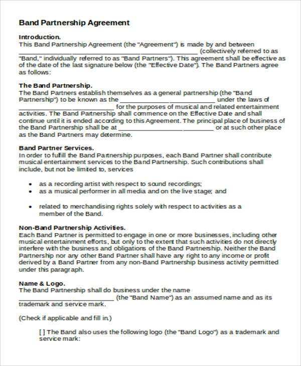 Partnership Agreement Contract Sample - 9+ Examples in Word, PDF