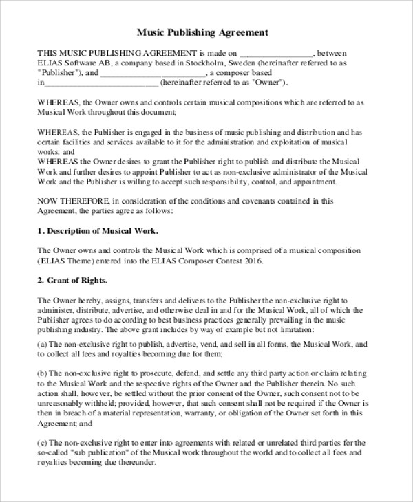 6+ Music Agreement Contract Samples Sample Templates - music agreement contract