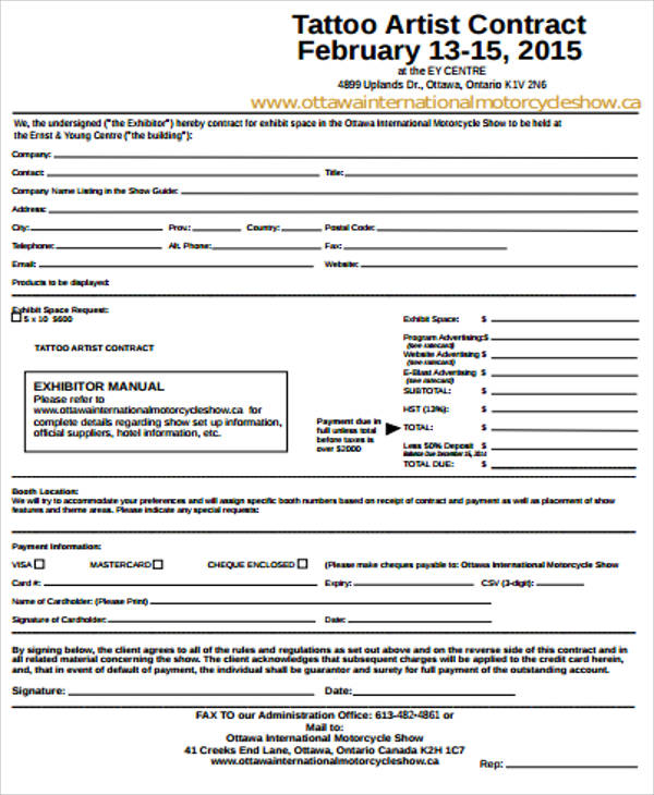Artist Agreement Contract Sample - 9+ Examples in Word, PDF - sample artist contract template