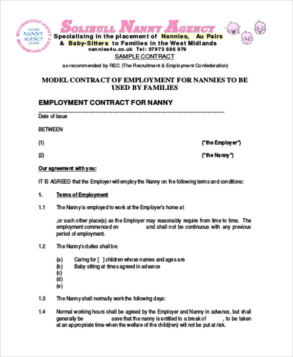 Nanny Agreement Contract Sample - 7+ Examples in Word, PDF - nanny agreement contract