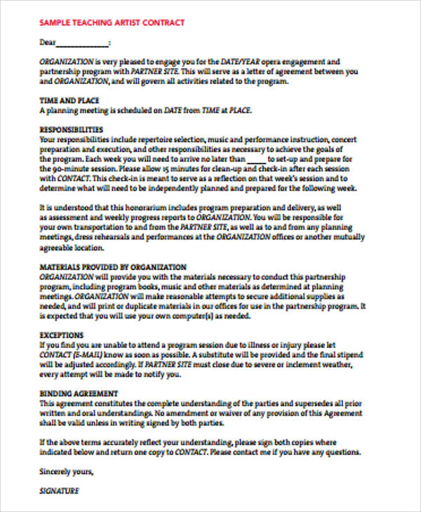 10+ Artist Agreement Contract Samples Sample Templates - music agreement contract