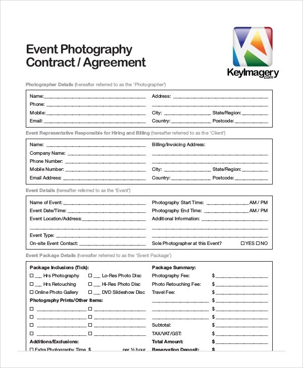 Event Photography Contract Template Image collections - Template