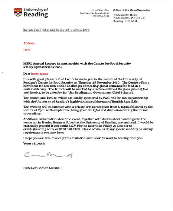 Invitation letter node2003 cvresumeasprovider sample formal invitation letter 11 examples in word pdf invitation letter stopboris Choice Image