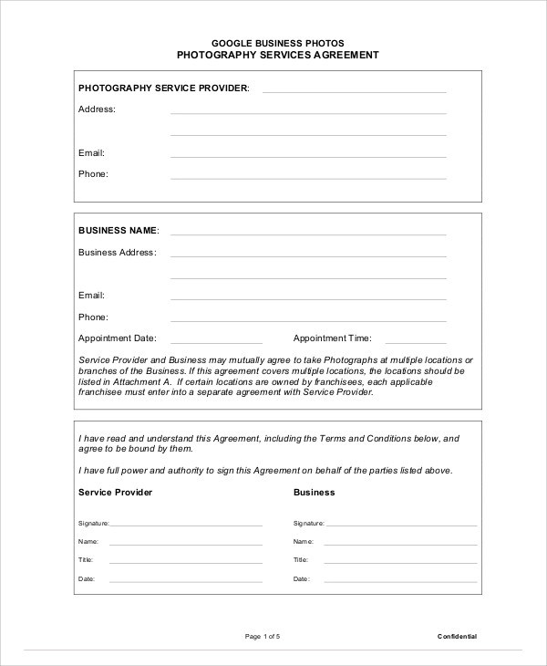 7+ Photography Agreement Contract Samples Sample Templates - photography services contract