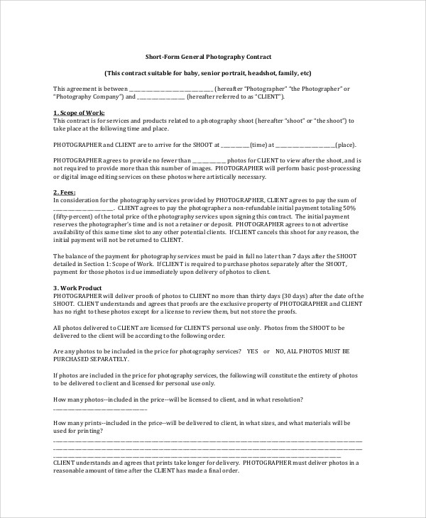 Photography Agreement Contract Sample - 7+ Examples in Word, PDF - photography services contract