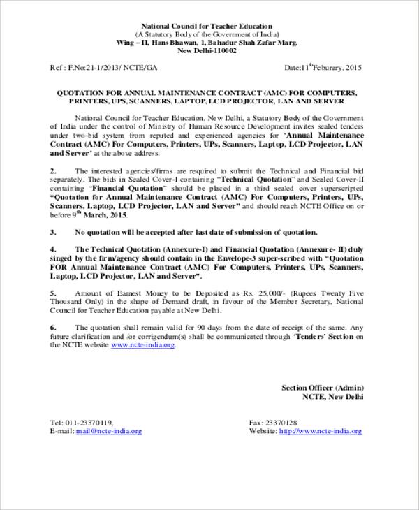 sample maintenance contract
