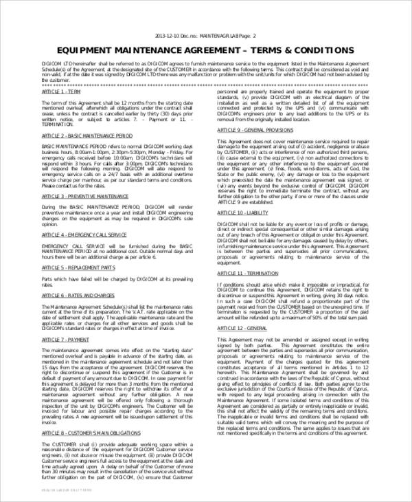 landscape maintenance contract